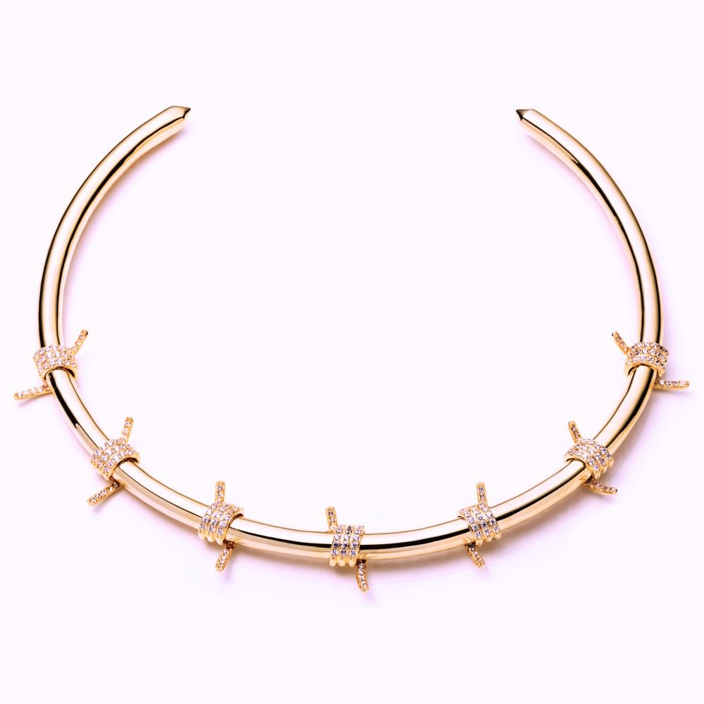 FALLON PAVE BARBED WIRE COLLAR IN ROSE GOLD http://fallonjewelry.com ...