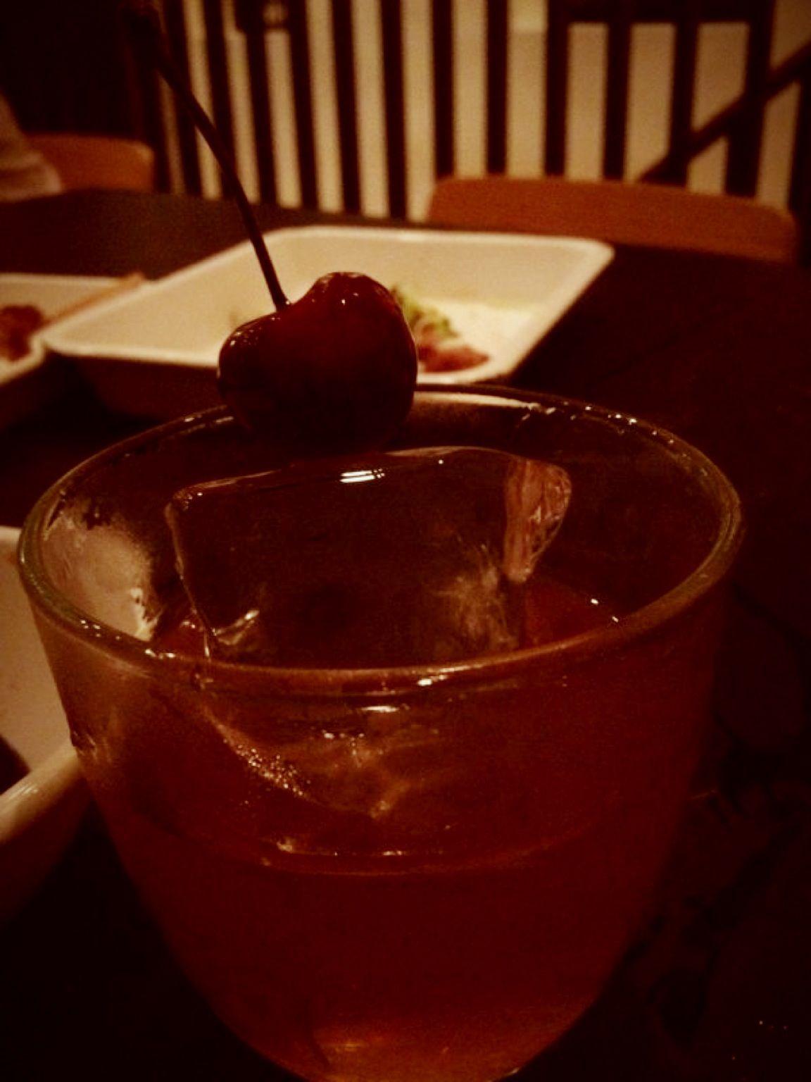 strawberry shochu with drunken cherry @ yardbird <3