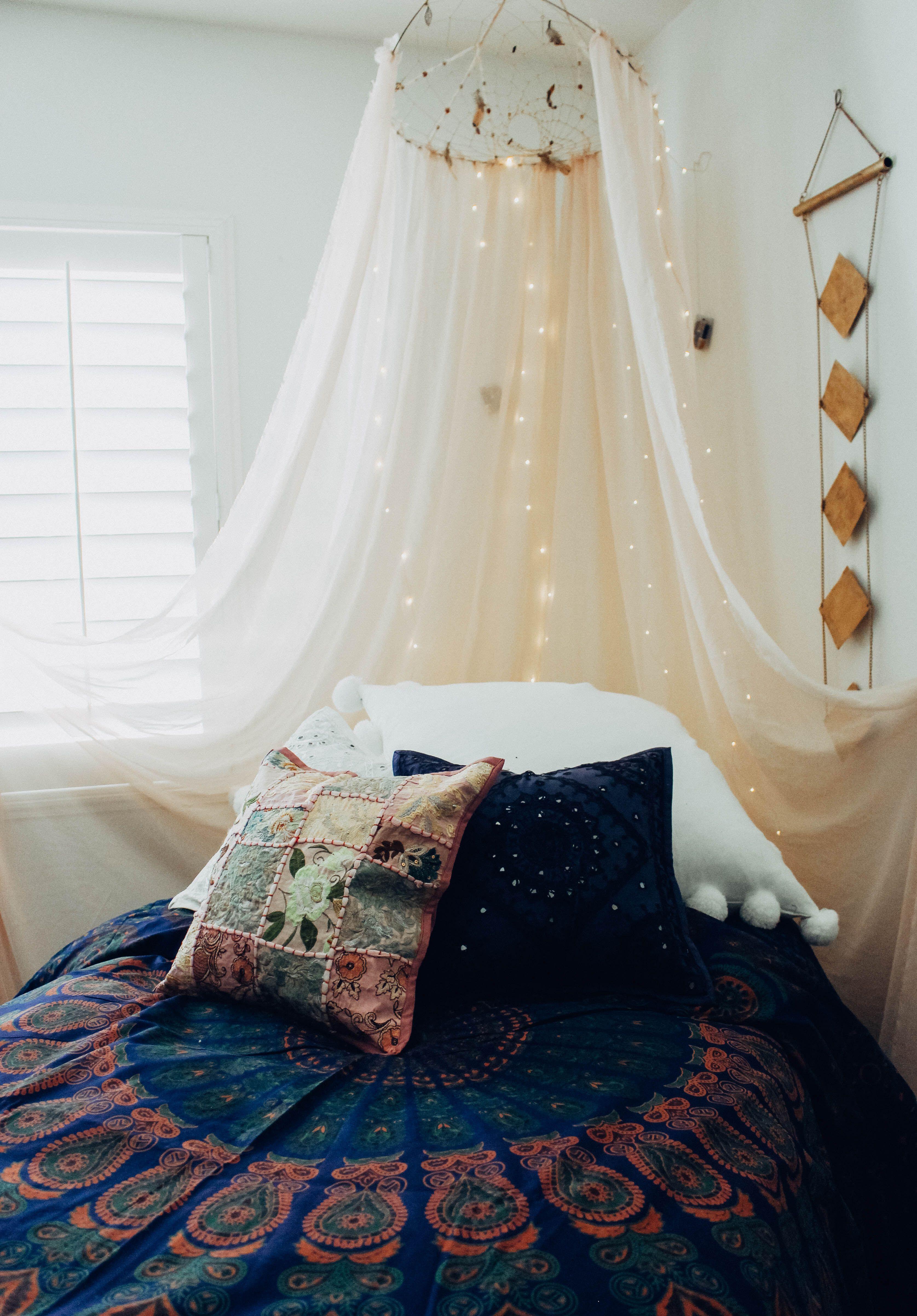 Twin Wall Lights With Pull Cord : Luna Blue Mandala Tapestry Pigev?relser
