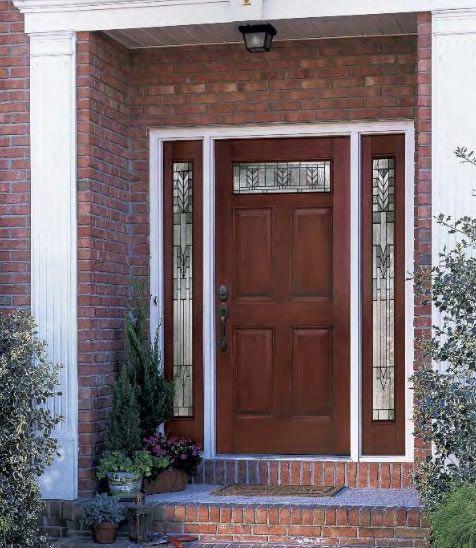 Entry Prehung 6 Panel Top Lite Fiberglass Door with 2 Sidelights6 panel Top Lite Fiberglass Door installed with 2 sidelights  . Front Doors With Windows On Top. Home Design Ideas