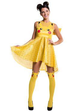 womens pokemon pikachu adult costume dress for halloween pokemon pikachu adult costume dress - Pikachu Halloween Costume Women