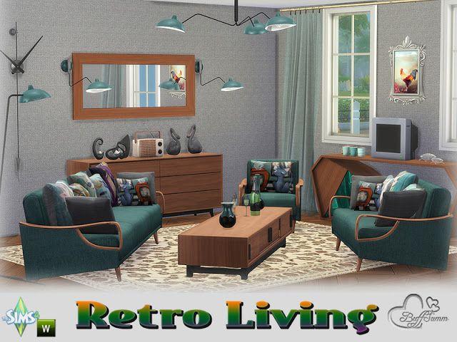 Sims 4 CC\'s - The Best: Retro Livingroom by BuffSumm | Sims 4 CC\'s ...