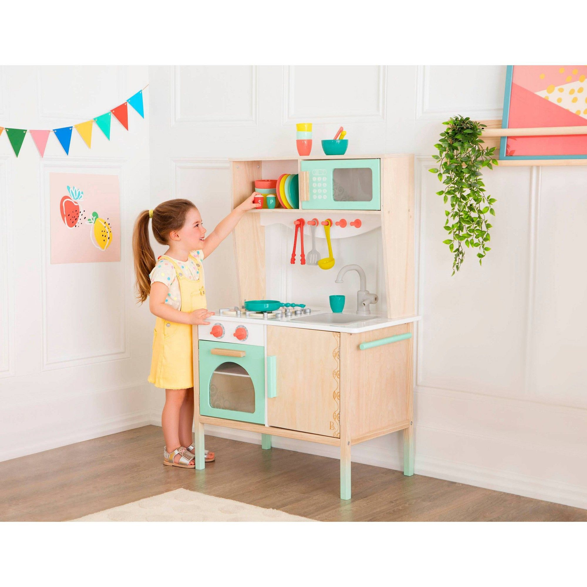 B Toys Wooden Play Kitchen And Accessories Wooden Play Kitchen