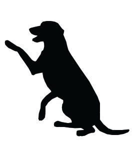 this piece of dog clip art features a retriever type dog sitting with paw raised black silhouette on white background dog clip art pictures art prints