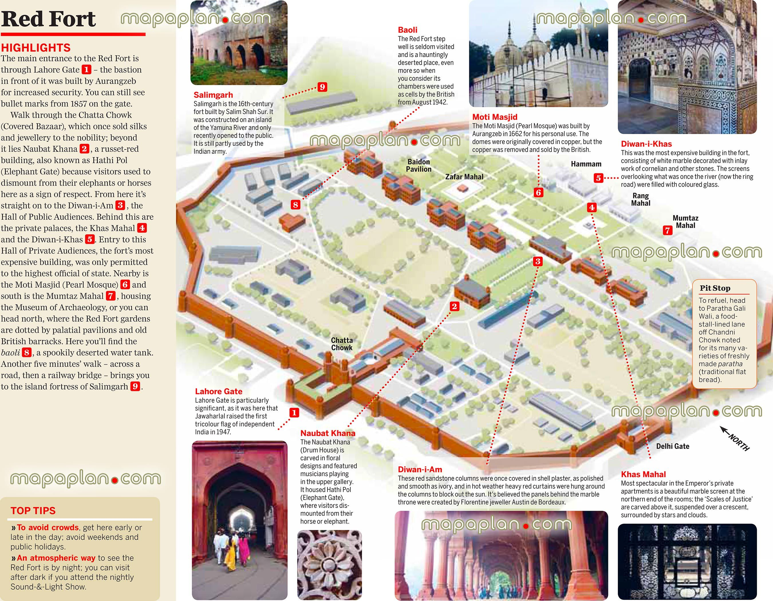 7 best Delhi India printable map of top tourist attractions