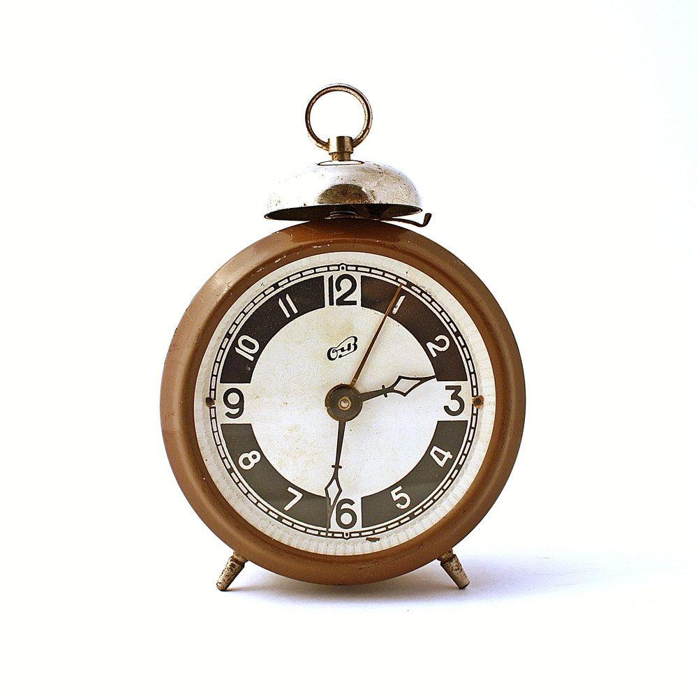 Rare vintage russian mechanical alarm clock ochz from soviet union rare vintage russian mechanical alarm clock ochz from soviet union brown alarm clock soviet alarm clock amipublicfo Images