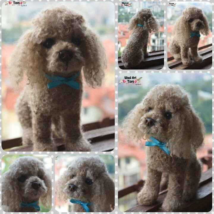 Custom Needle Felted Dog Toy Poodle Sculpture Memory Portrait Wool