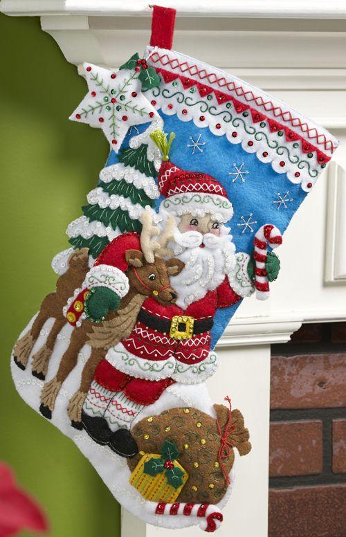 Nordic Santa Bucilla Christmas Stocking Kit