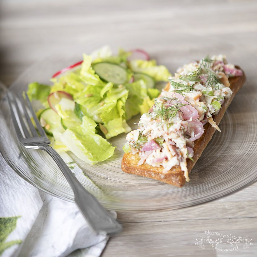 Smoked Trout Tartines with Romaine, Cucumber, and Radish Salad by Blue Apron – Blooming Bites Photography