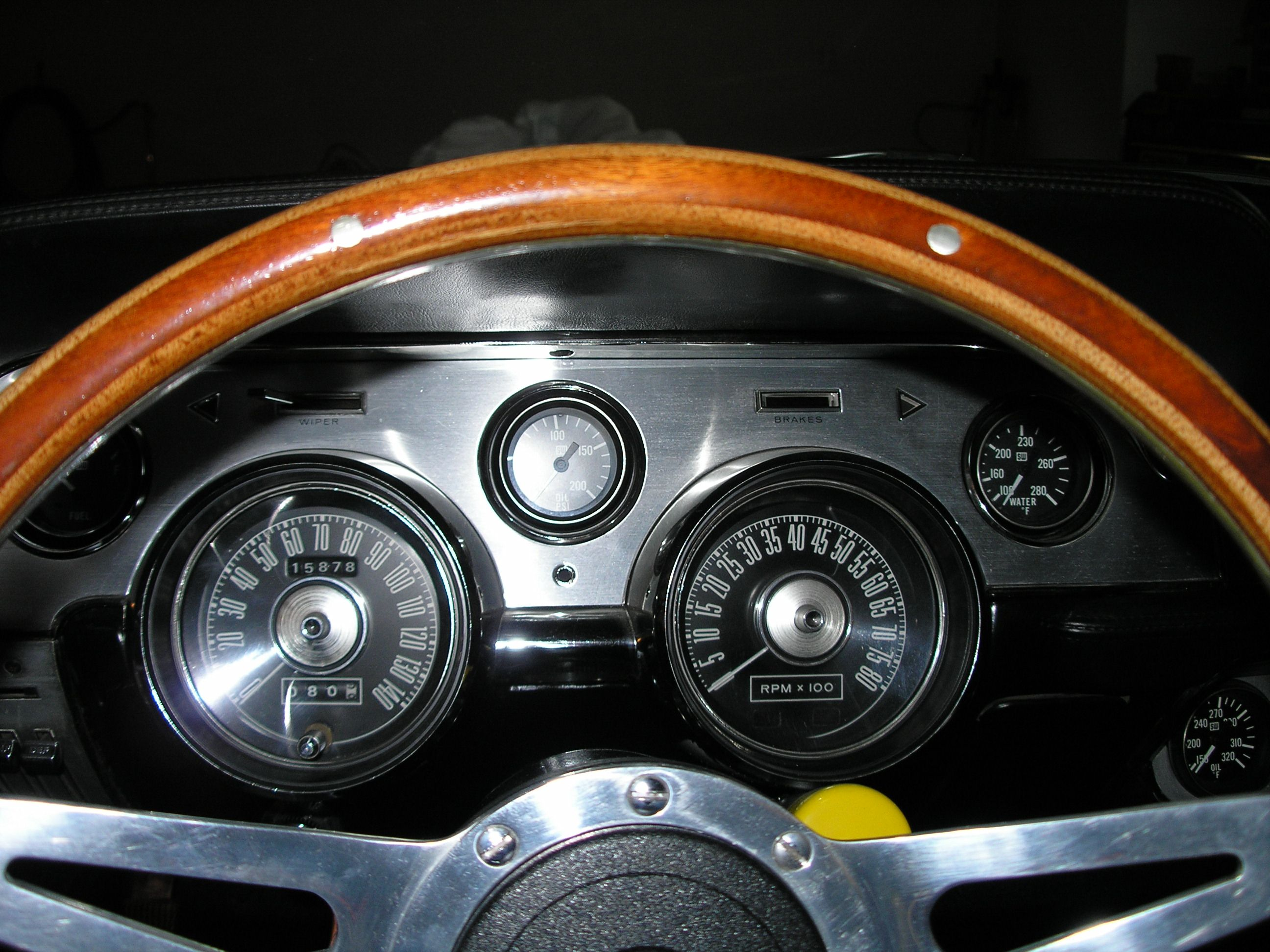 1967 mustang wiring to tachometer | Jim's 1967 Mustang with custom dash and  8000 RPM GT tachometer .