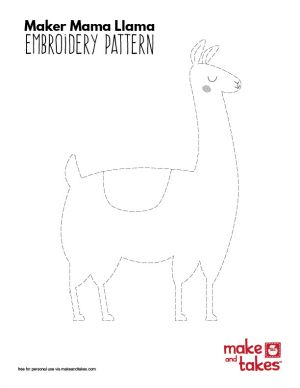 Maker Mama Llama Embroidery Pattern   Make and Takes