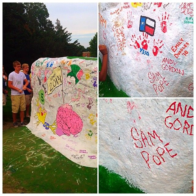 """At Michigan State, you're not a real spartan until you leave your mark on """"the rock"""". #msu18 #spartannation #michiganstate #spartanpride #Padgram"""