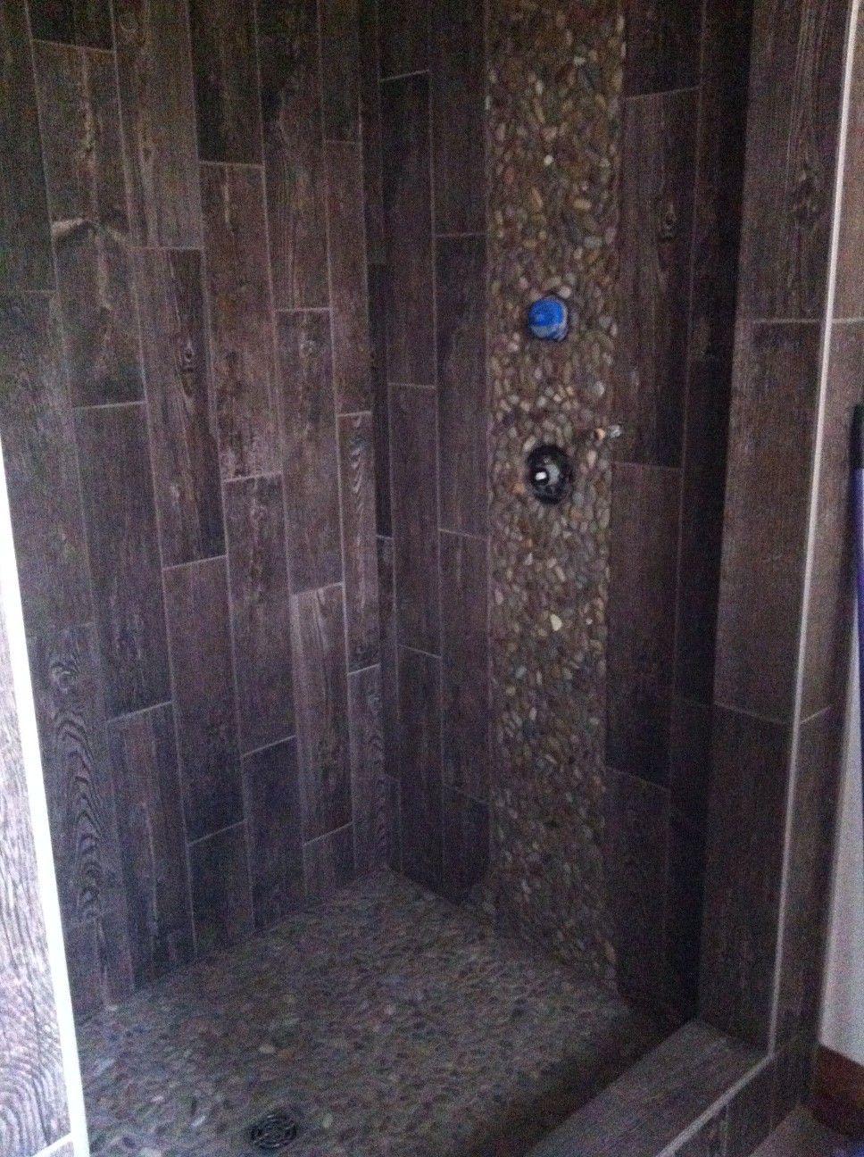 Outhouse shower using 6x24 porcelain tile and pebble mosaics showers pinterest pebble Bathroom designs using mosaic tiles