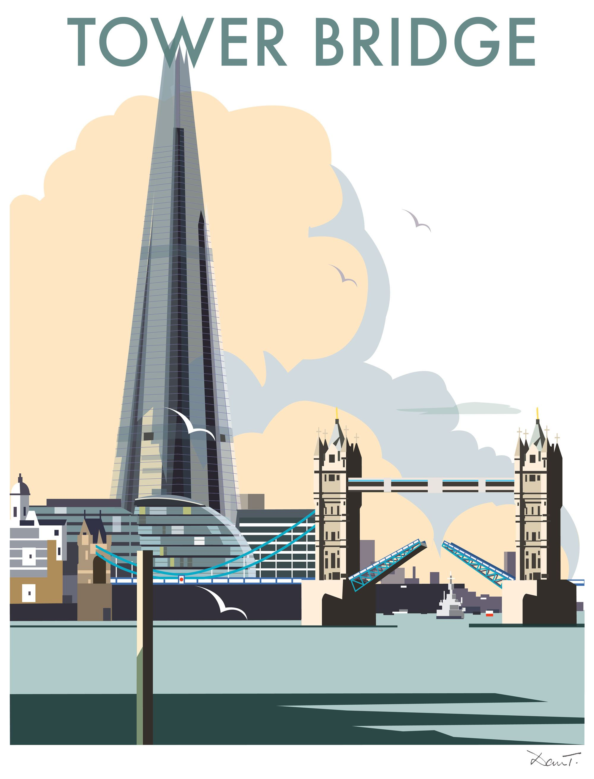 tower bridge dt33 town city print by dave thompson. Black Bedroom Furniture Sets. Home Design Ideas