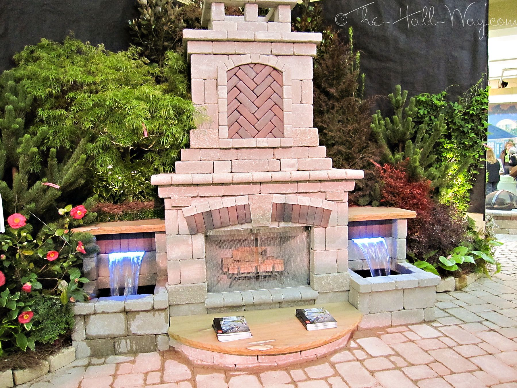 outdoor fireplace with water feature
