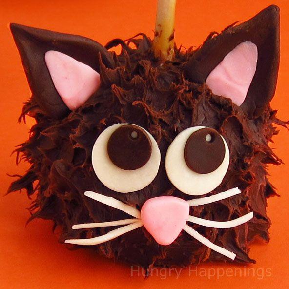 Chocolate Caramel Apple Cats for Halloween