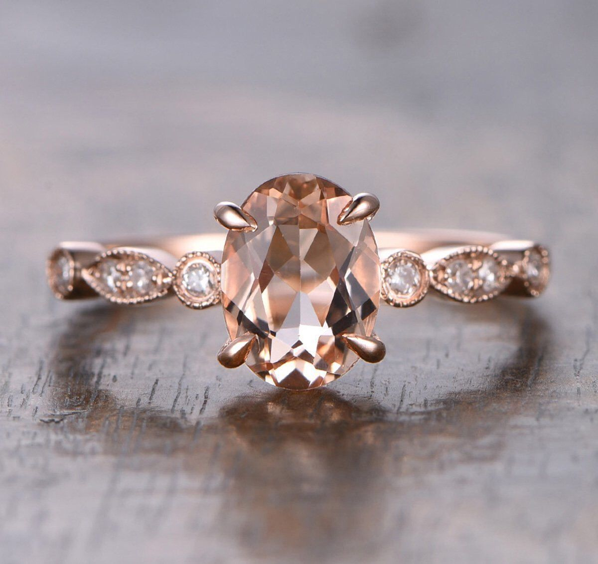 Limited Time 1 25 Carat Morganite And Diamond Engagement Ring In 10k Rose Gold For Women Under 300 By Jeenmata On Etsy
