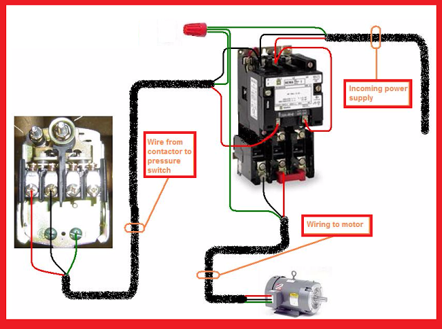 Motor Starter Wiring Diagram Air Compressor : Single phase motor contactor wiring electrical mechanics