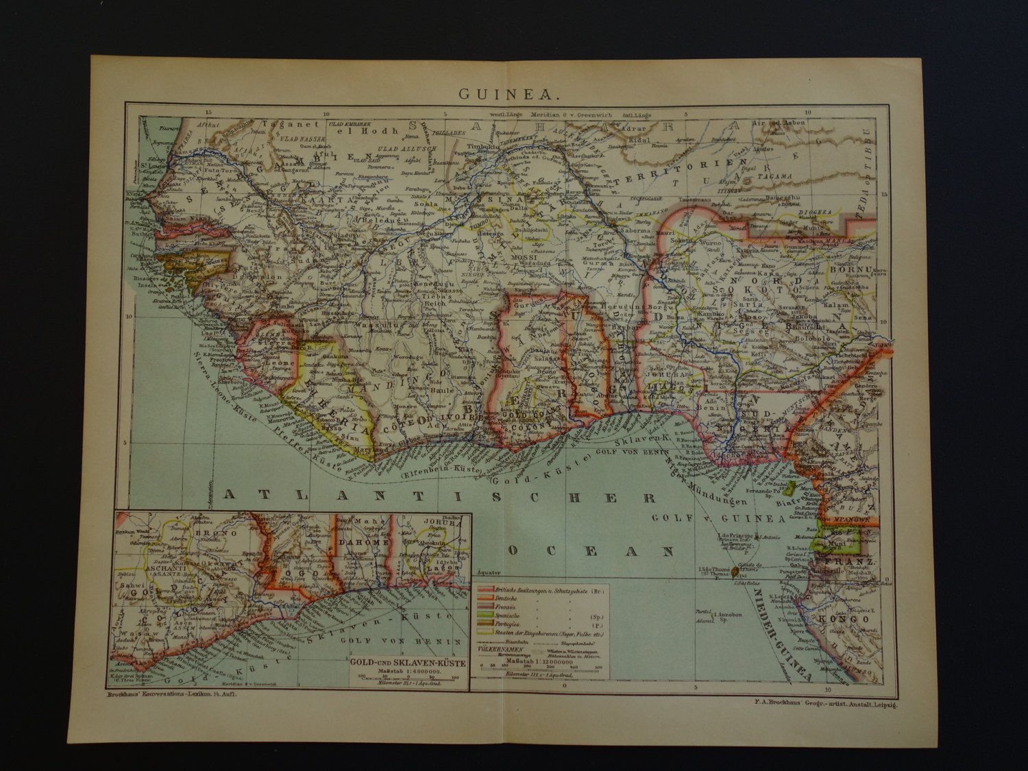 Antique map of Africa Guinea original