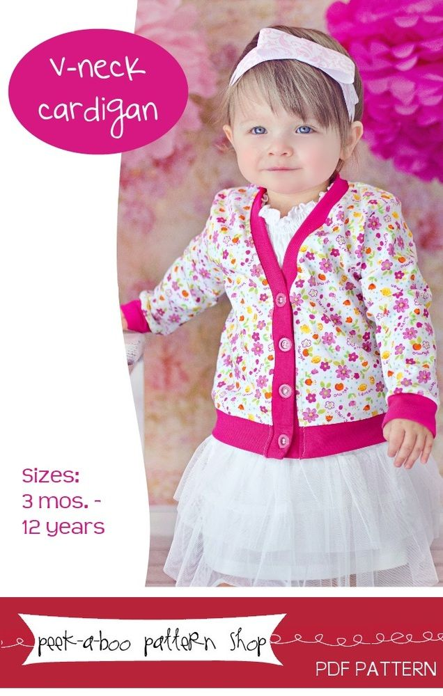 V-Neck Cardigan: 3 mos. - 12 years by Peek-a-Boo Pattern Shop
