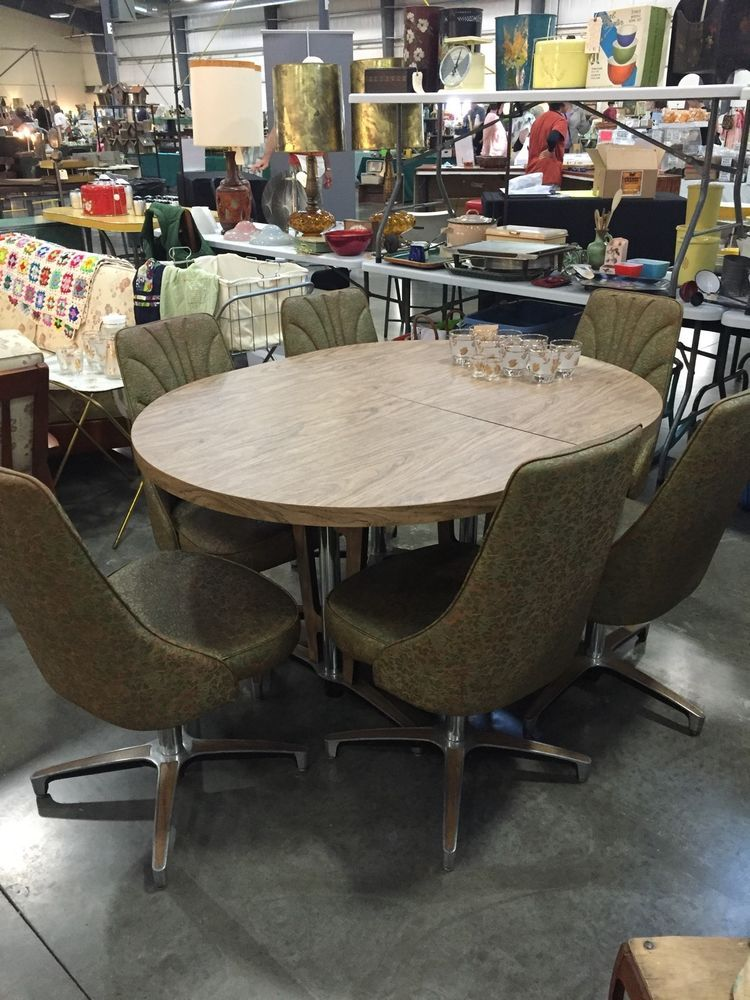 Vintage MCM Chromcraft Dining Set Table 6 Chairs Mid Century With Leaf  #MidCenturyModern #Chromecraft