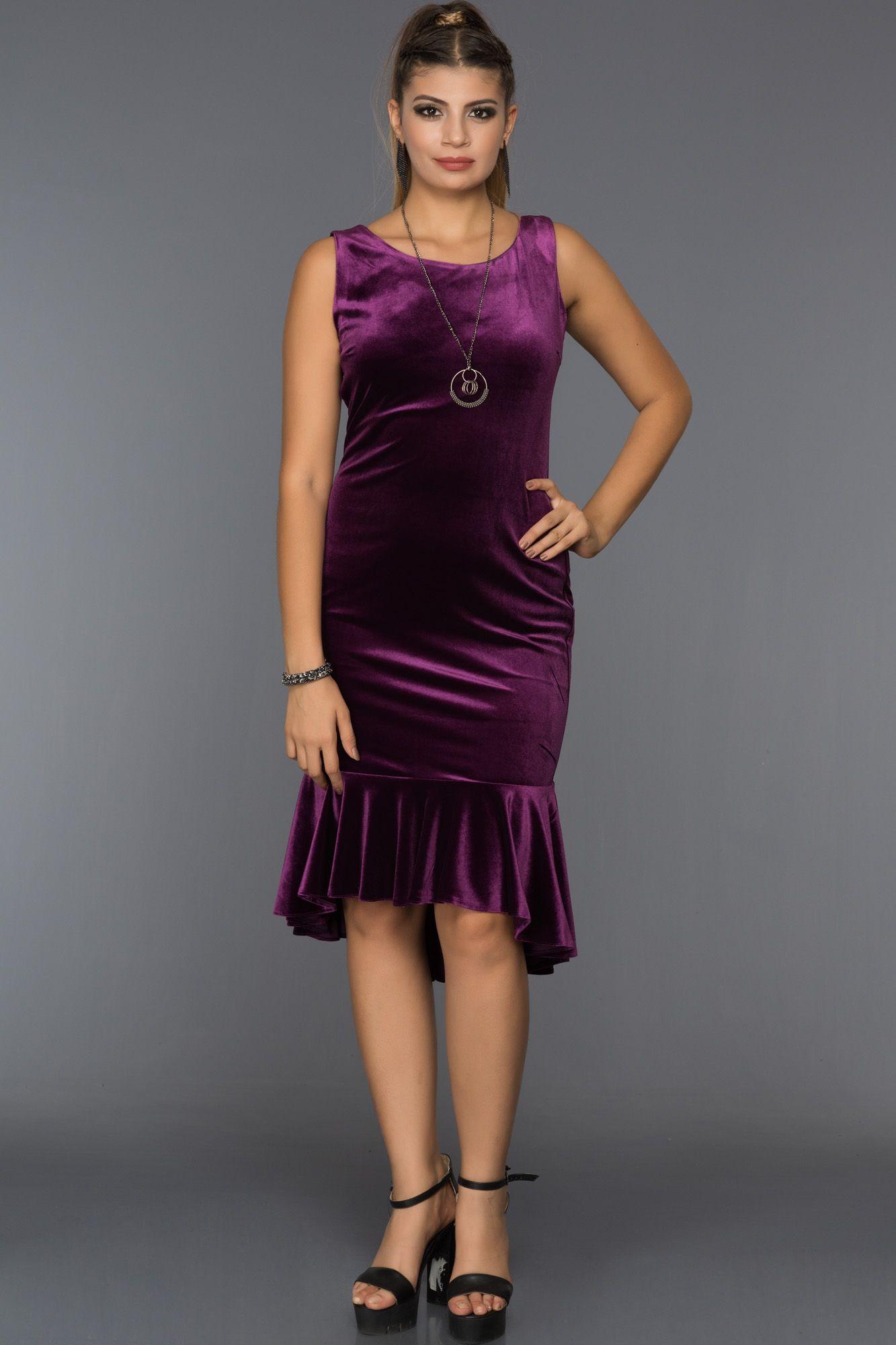 Mor Midi Boy Kadife Elbise Abk232 Elbise The Dress Moda Stilleri