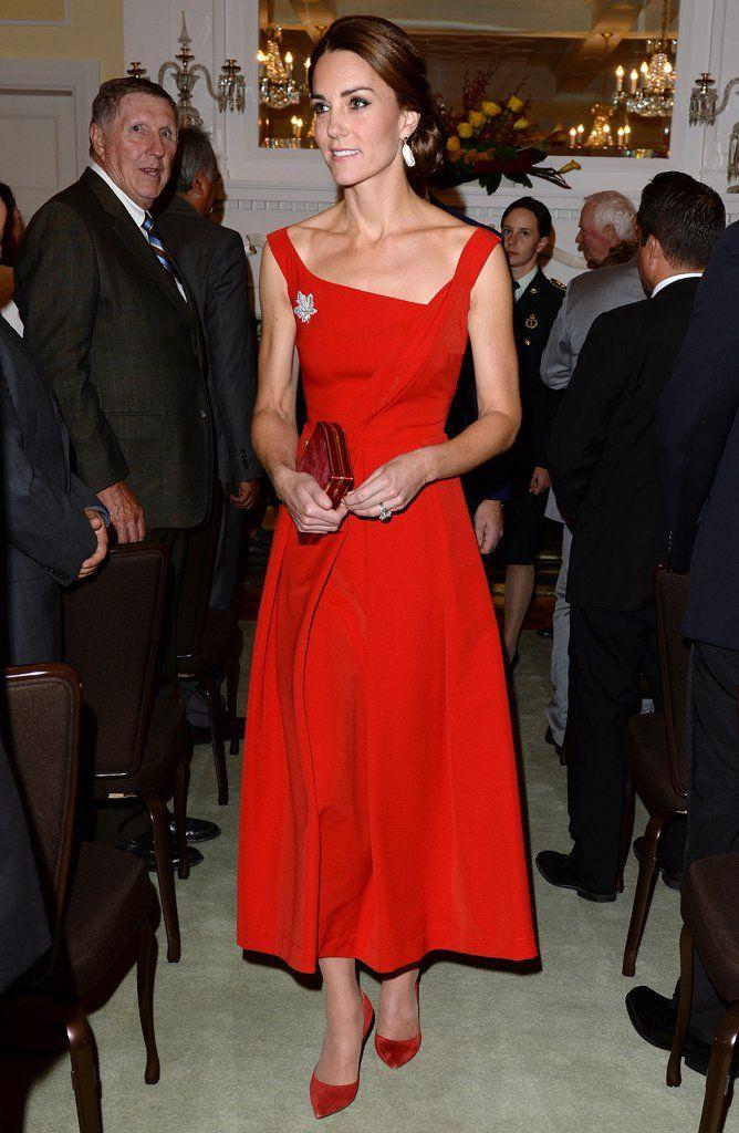 e9640544d1c Kate Middleton Red Preen Dress in Canada September 2016