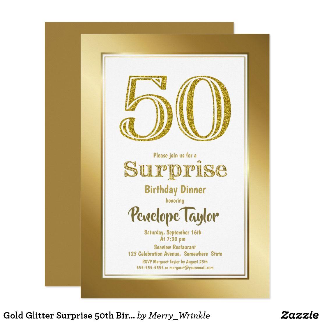 Gold Glitter Surprise 50th Birthday Dinner Party Invitation