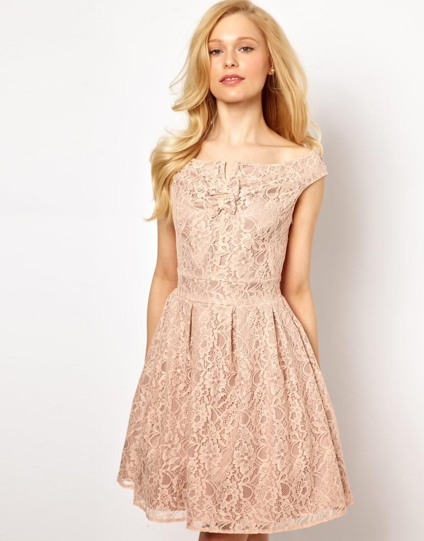 Nude lace dress wedding bridesmaid ideas pinterest lace