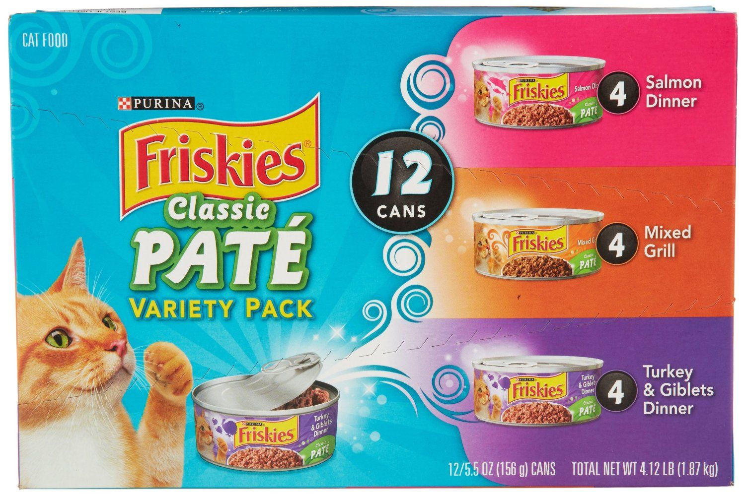 Friskies Classic Pate Variety Pack (12 Count, 5.5 Oz Each): Prime Pantry