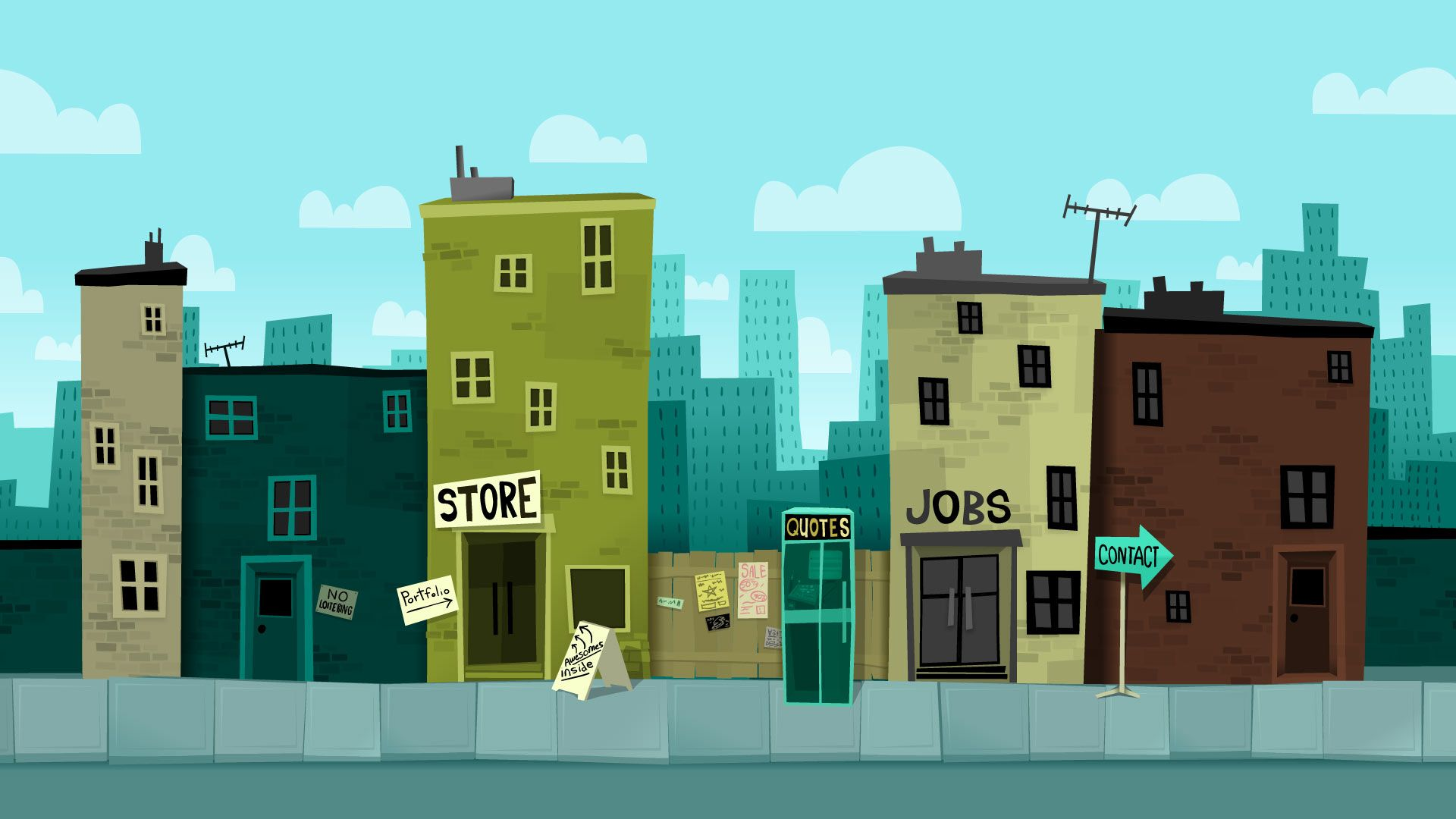 House Street Background City Cartoon Cartoon Background Animation Background