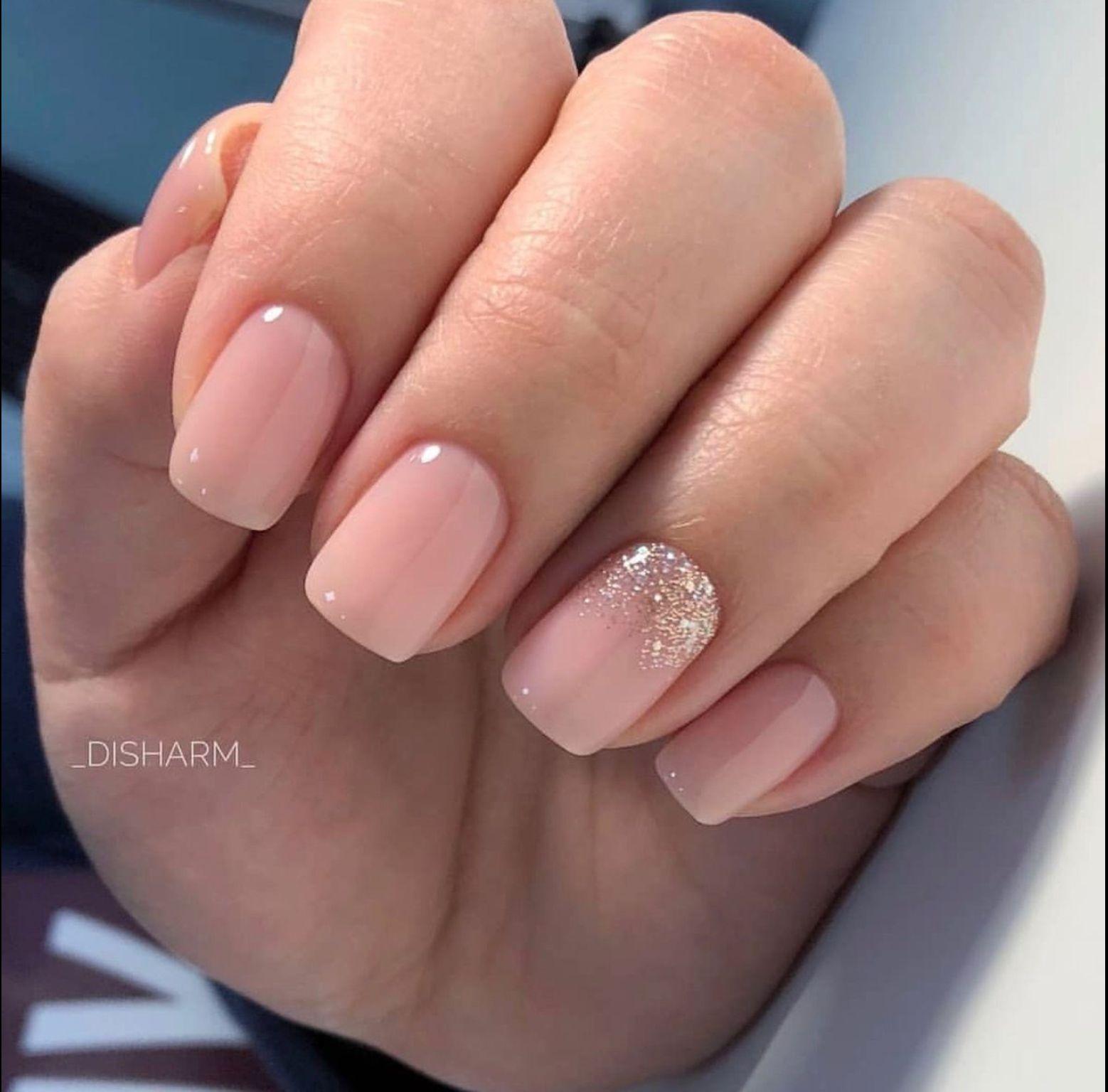 Nail Length And Color Bride Nails Solid Color Nails Pink Nails