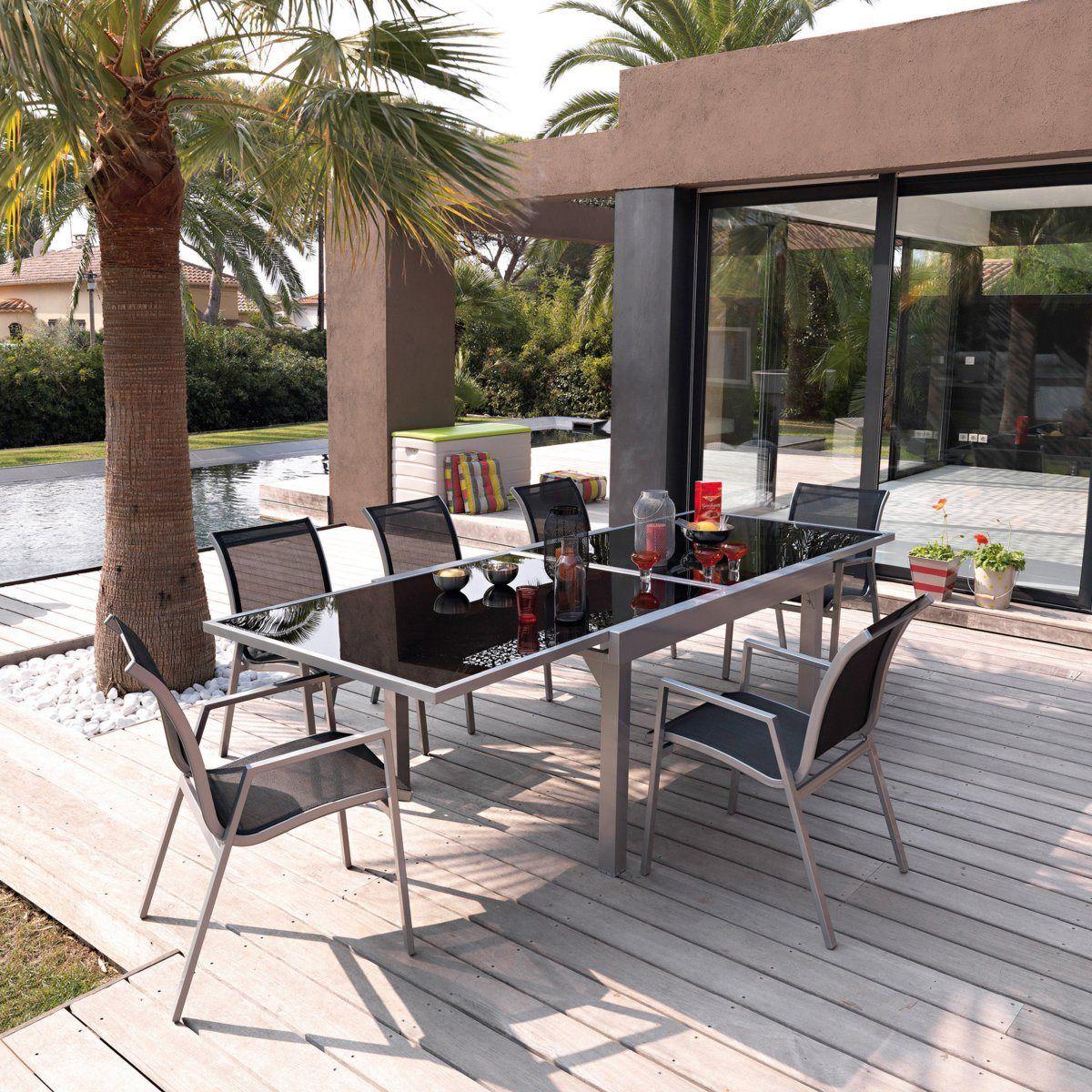 Salon de jardin métal et verre, table + 6 chaises | Pinterest