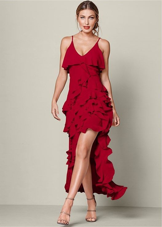 Venus Women s Ruffle Detail Long Dress - Red 41021e124