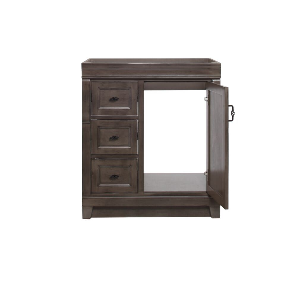 Home Decorators Collection Naples 30 In W Bath Vanity Cabinet Only In Distressed Grey With Left Hand Drawers Nad In 2020 Vanity Cabinet Small Bathroom Decor Cabinet