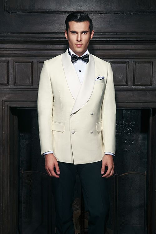 4479e43ebc Off-white double breasted four button tuxedo with shawl collar lapel ...