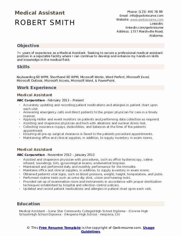 25 Medical Assistant Resume Template In 2020