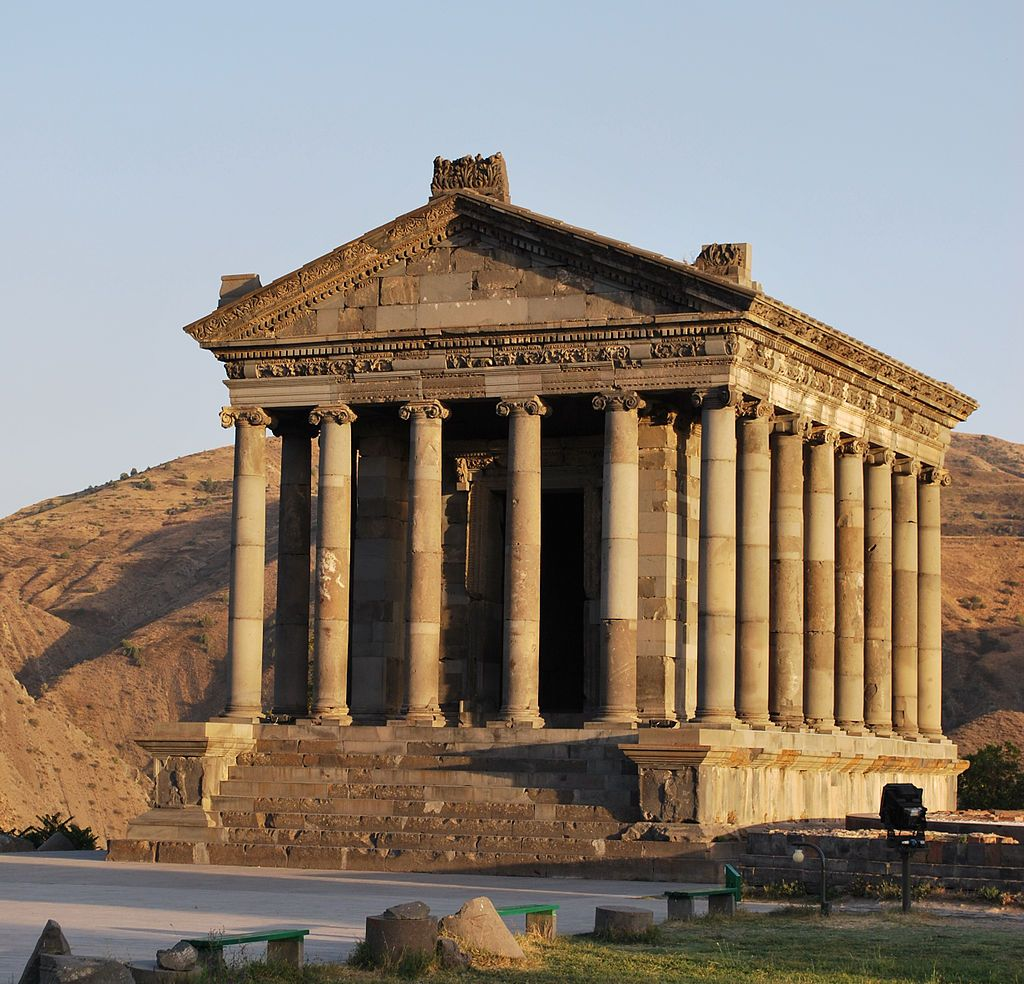 """Garni Temple The Armenian pagan Temple of Garni, probably built 1st century AD, is the only """"Greco-Roman colonnaded building"""" in Armenia and the entire former Soviet Union.[41]"""
