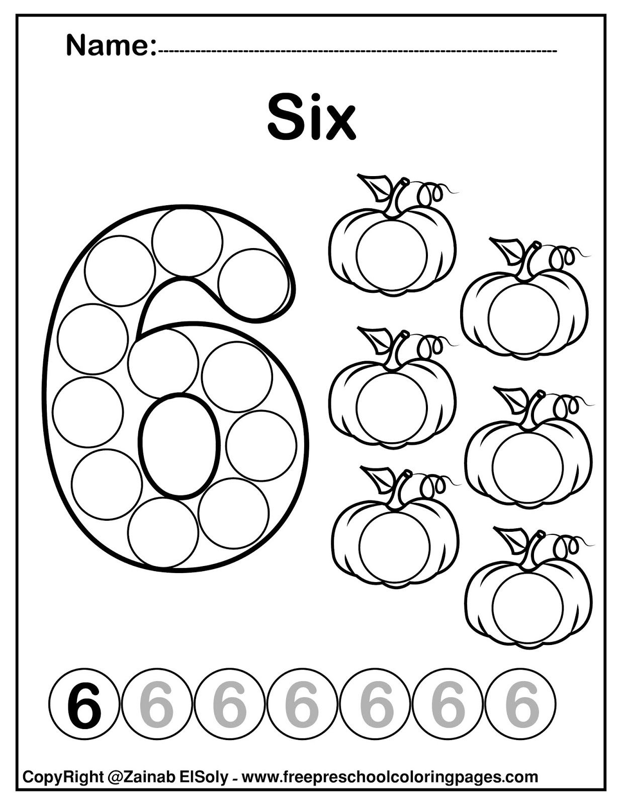 Set Of Pumpkins Dot Activity Free Preschool Coloring