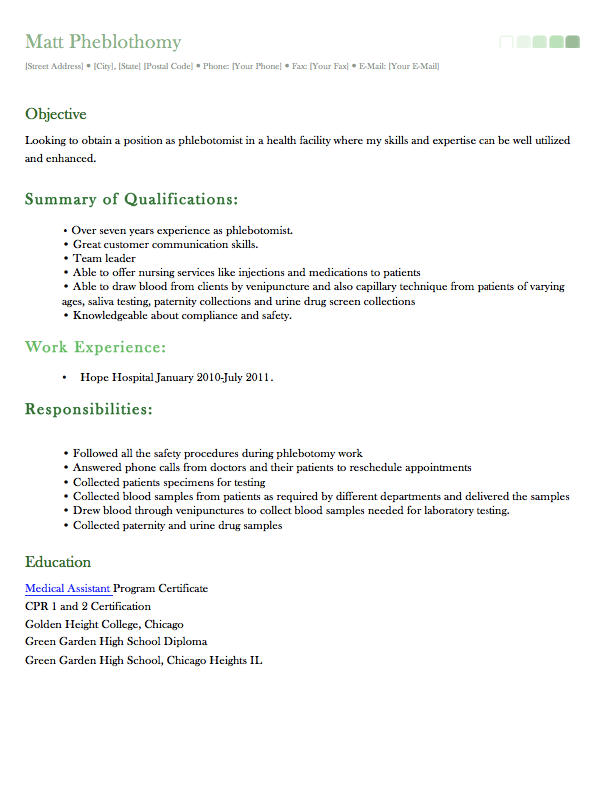 Sample Phlebotomist Resume Httpexampleresumecvsample