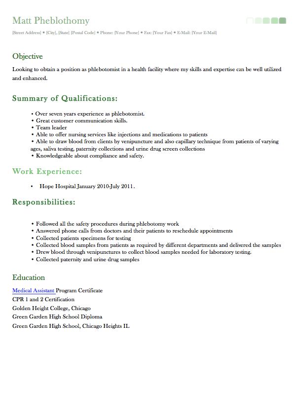 Sample Phlebotomist Resume Examples Resume Cv Phlebotomist Resume Examples Resume