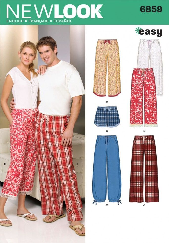 b9cbe6a1d2 New Look Ladies   Men s Easy Sewing Pattern 6859 Pyjama Bottoms Pants    Shorts