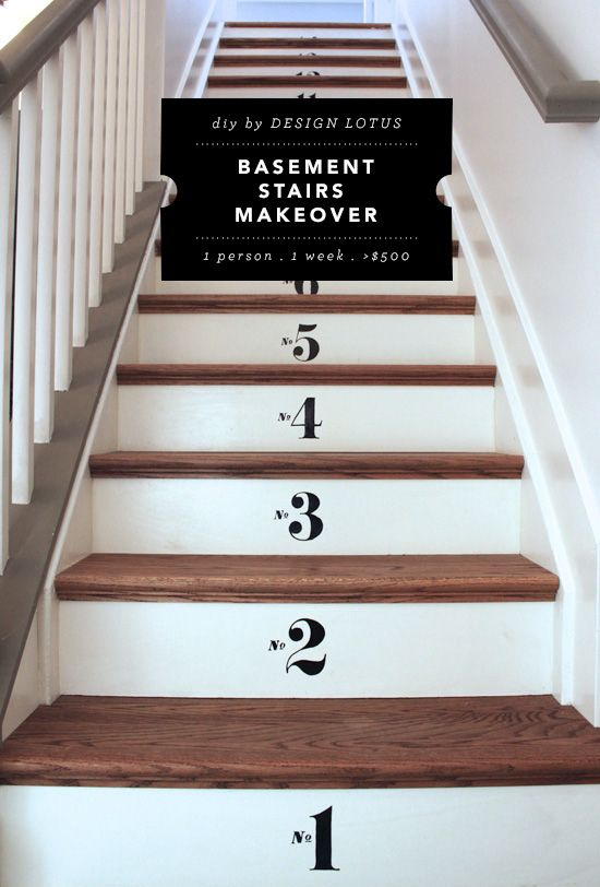 Superior Basement Stairs Makeover With Retread | DesignLotus