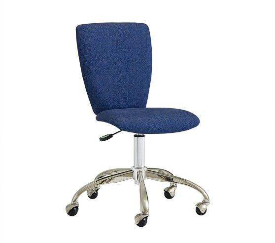 Square Upholstered Desk Chair Brushed Nickel Base Pbkids Upholstered Desk Chair Chair Desk Chair
