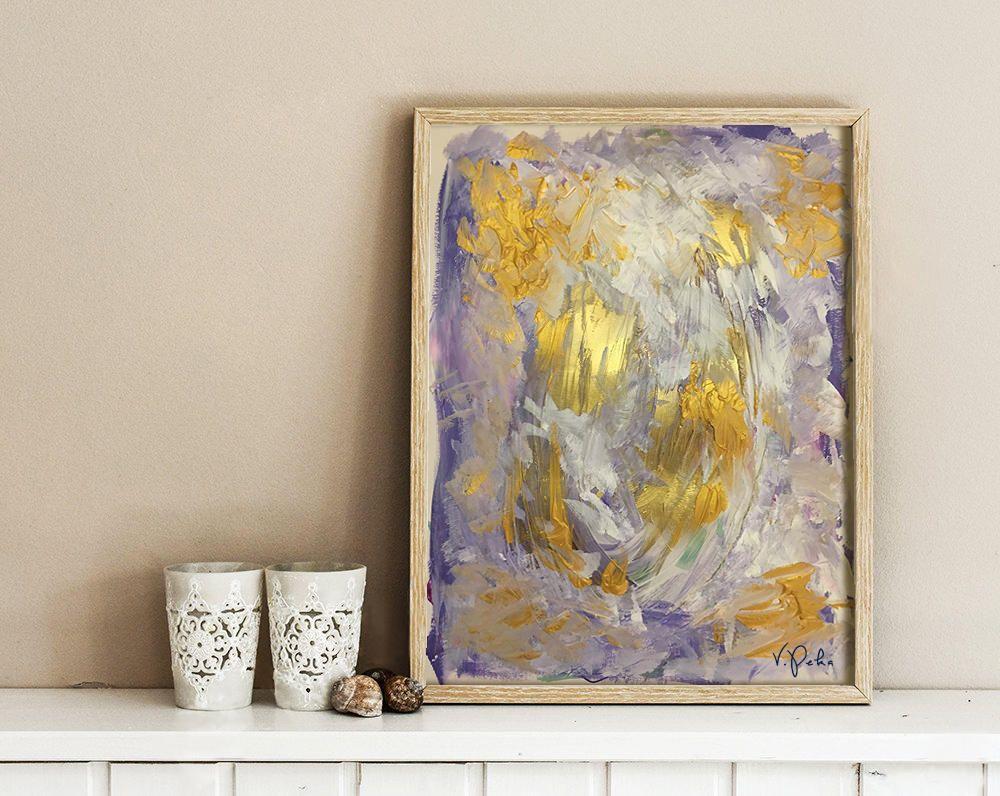 """Papier A Peindre Epais peinture abstrait """"violet irisé"""" colorful, acrylic painting"""