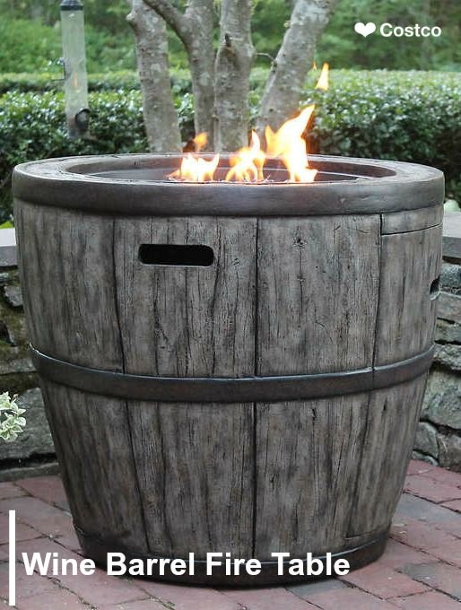 This Rustic Wine Barrel Fire Table Will Enhance Any Outdoor Living Space Crafted From Durable Concrete Based Wine Barrel Fire Pit Barrel Fire Pit Gas Firepit