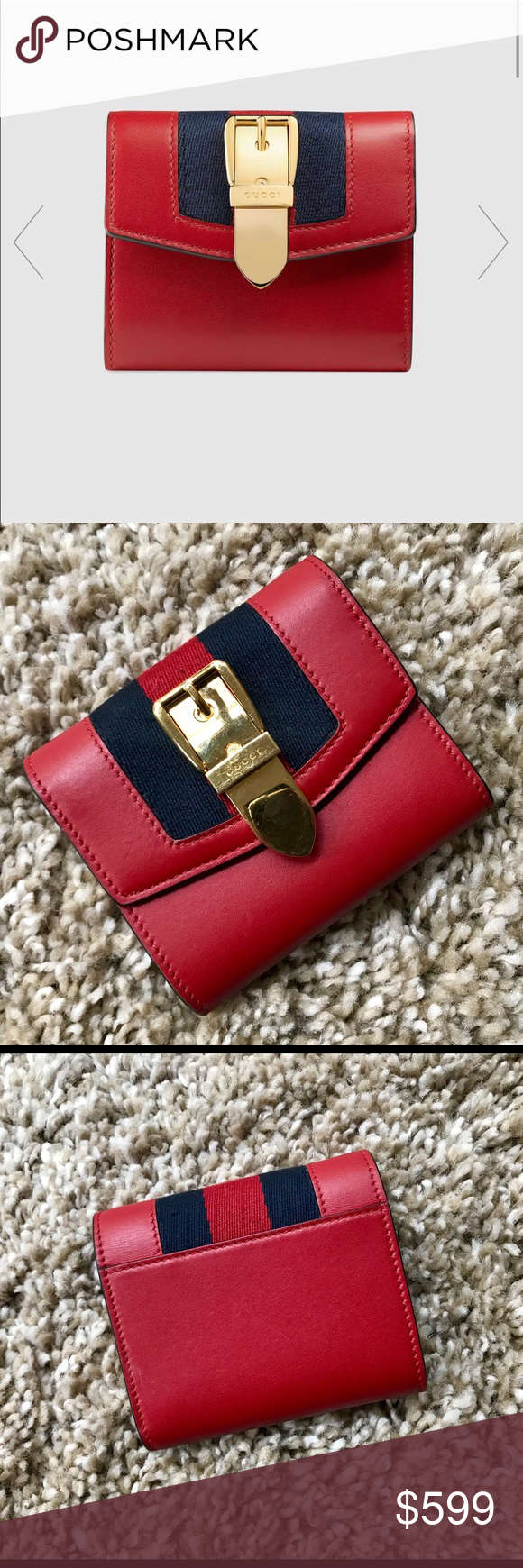 46be382623e8 Gucci Sylvie Leather Wallet 100% Authentic Gucci Sylvie wallet in a small  size and flap