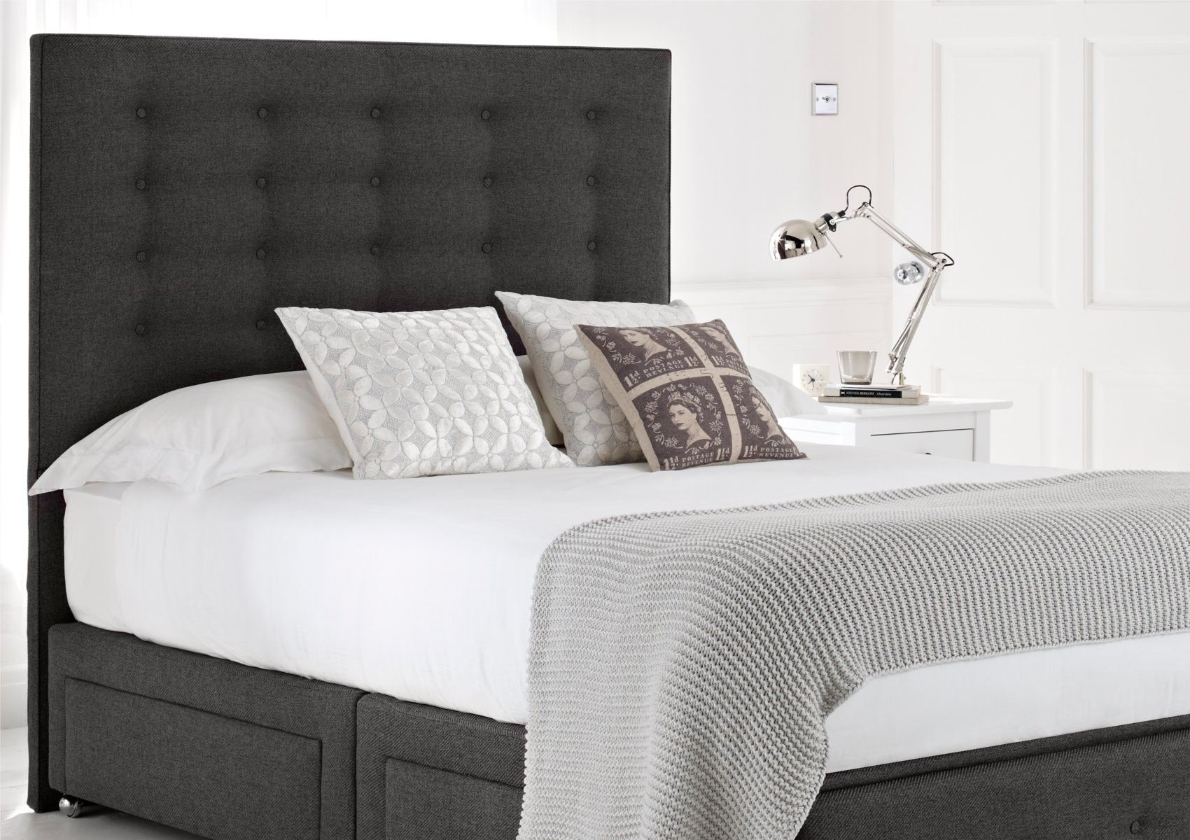 Mayfair Upholstered Divan Bed Base And Headboard Storage