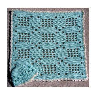 "Little Baby Crochet Filet Set ~~ Blanket 17.5 x 18.5  Hat 12"" circumference"