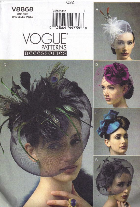 Vogue 8868 Vintage Styled 1950s Birdcage Hat by PeoplePackages ...